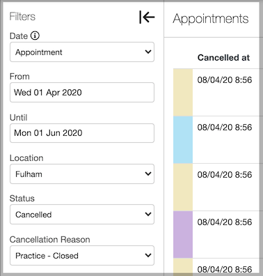 Dentally Appointments Report Filters