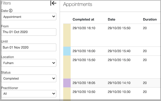 Dentally Appointments Report Completed Filters