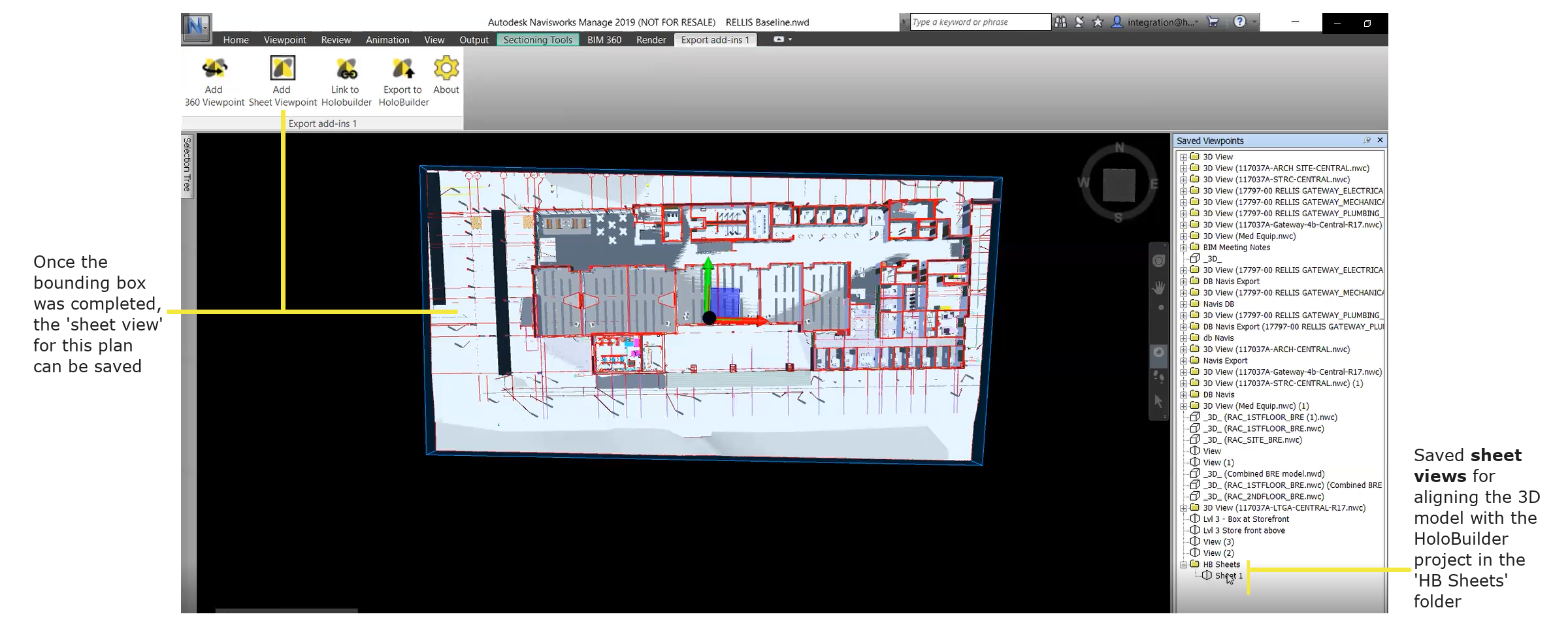 Generated sheet view for a level of your 3D model in Naviswork to align with a HoloBuilder project