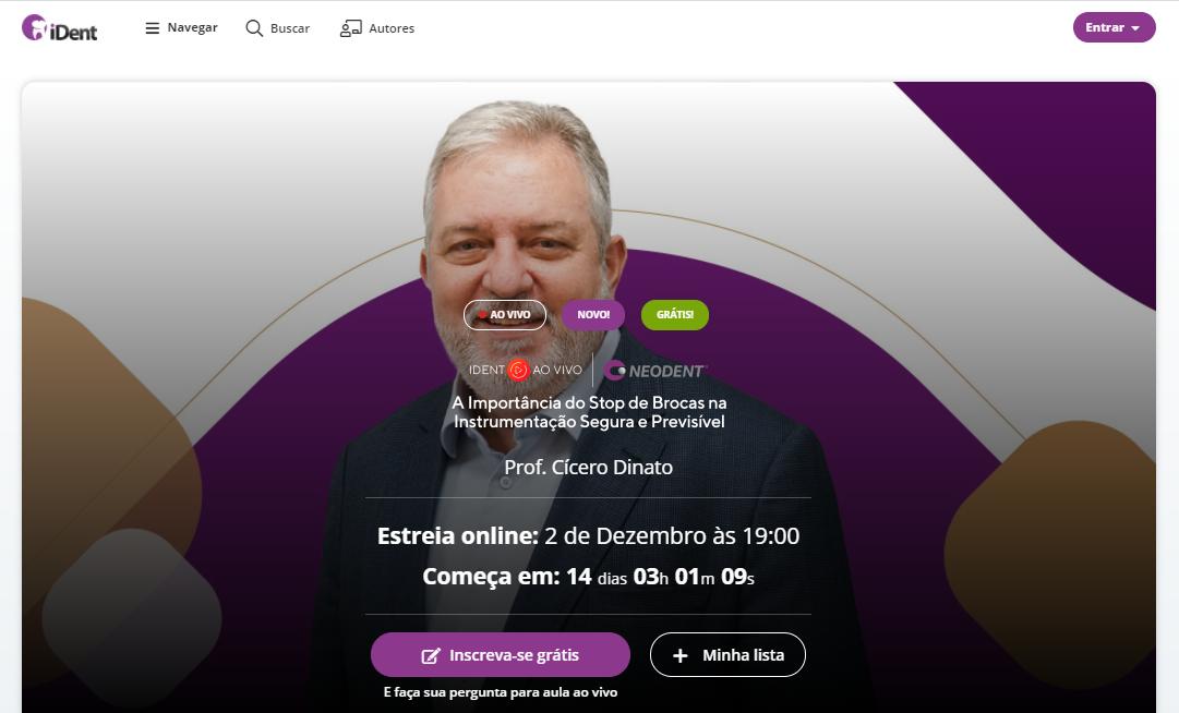 Imagem mostrando página de inscrição em ao vivo no iDent