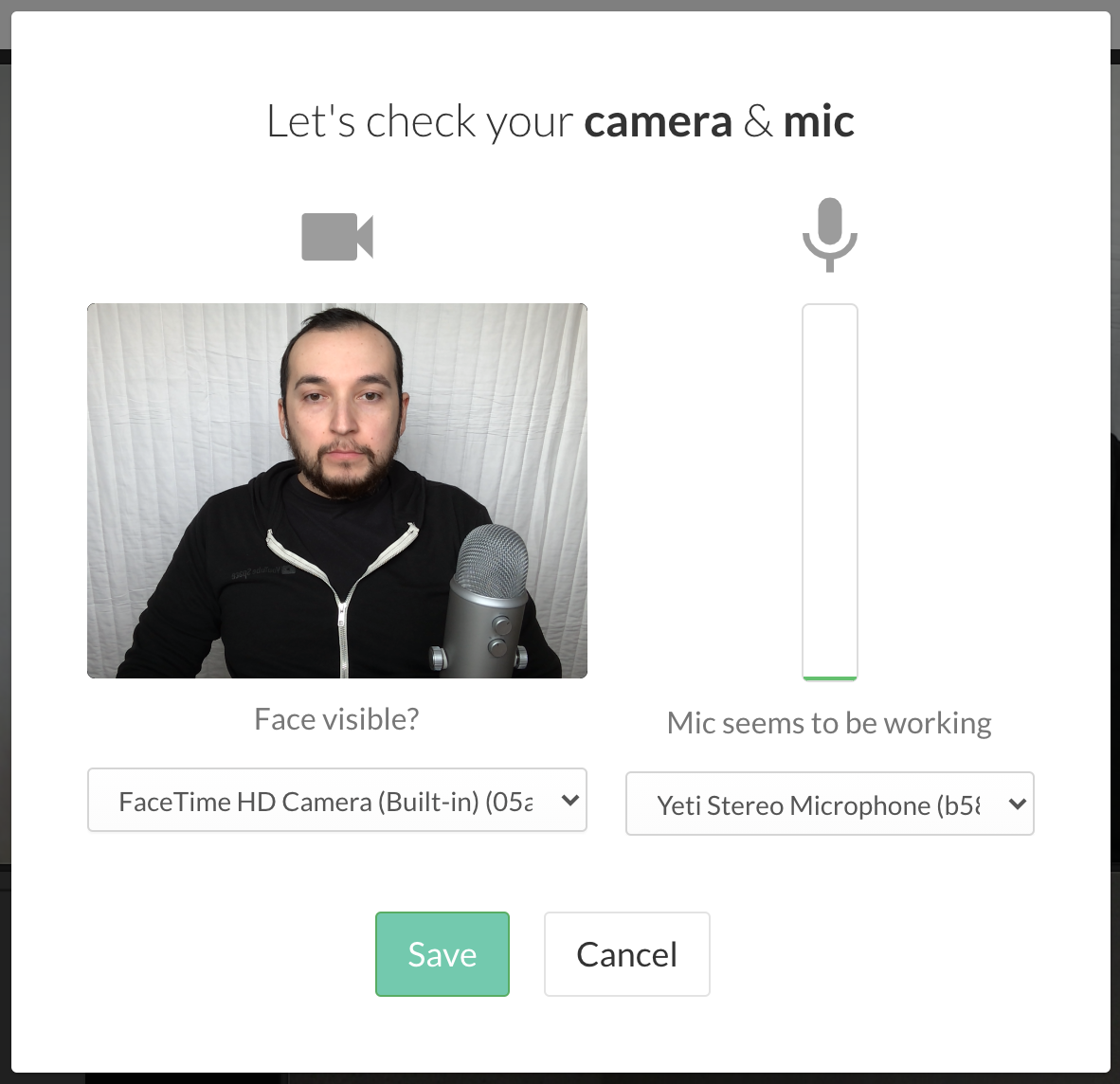 Photo of pop-up with options to change camera and mic