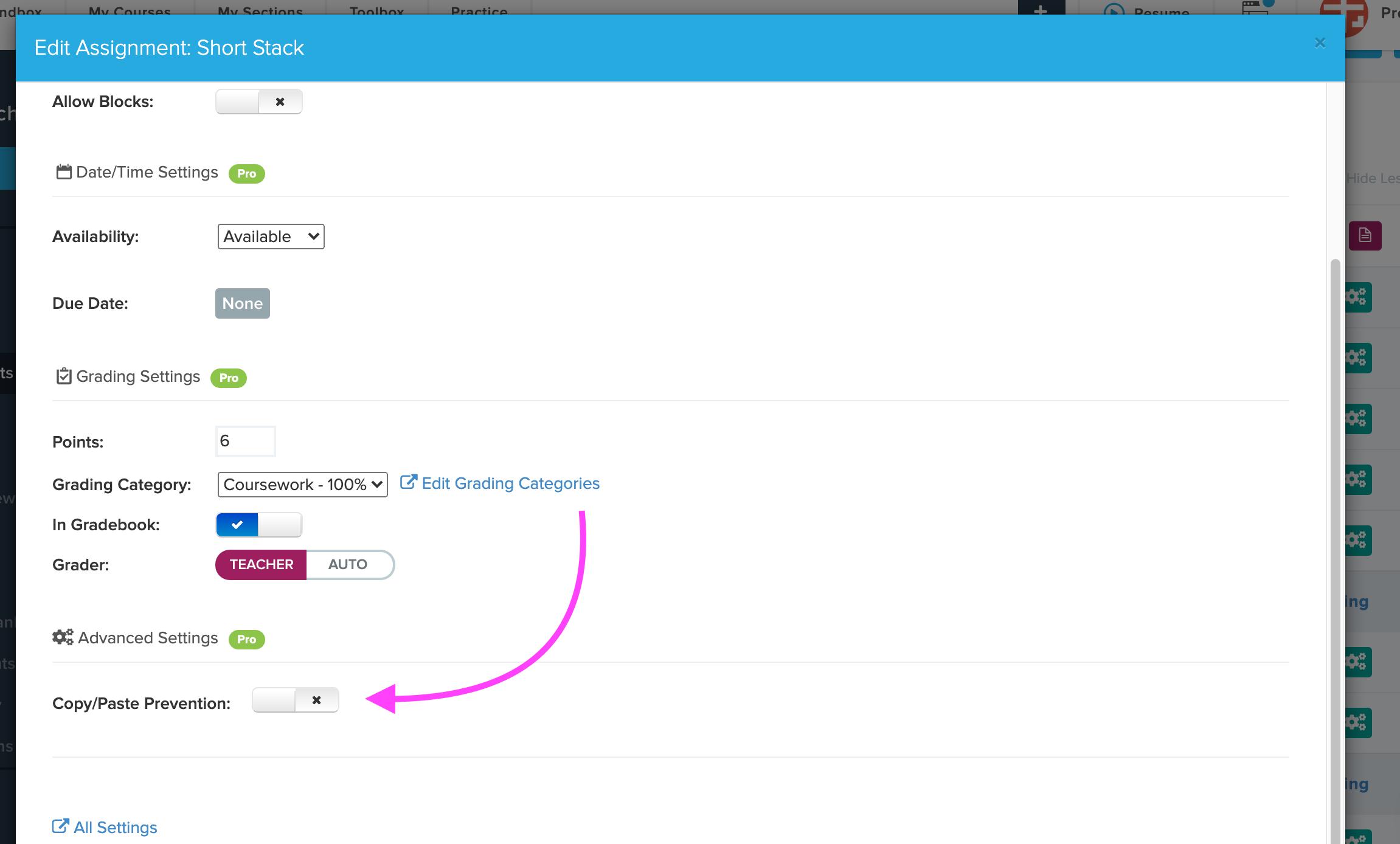 arrow points to copy/paste prevention setting on configure menu