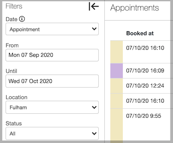 Dentally Appointments Report with filters