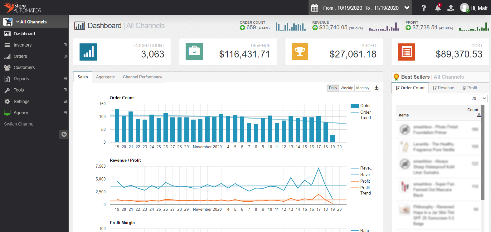 Main Analytics Dashboard
