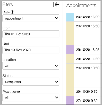 Dentally Appointments Report Completed Filter