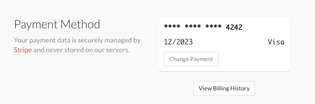 Screenshot of the payment method section within account settings