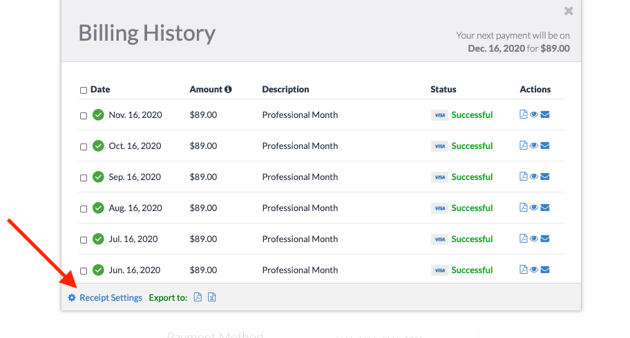 Screenshot of the billing history popup with an arrow pointing to receipt settings.