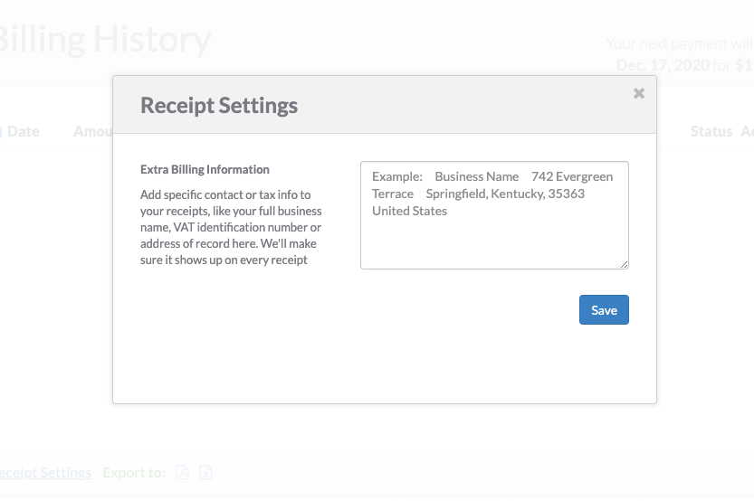 Screenshot of receipt settings section where you can add extra billing information.