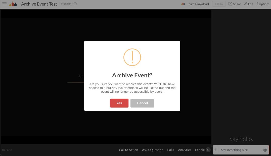 confirm archive event popup