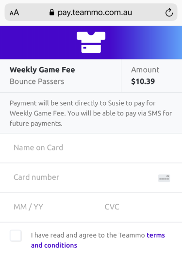 Screenshot of the Teammo payment form that team members will fill in to make a payment to their team manager