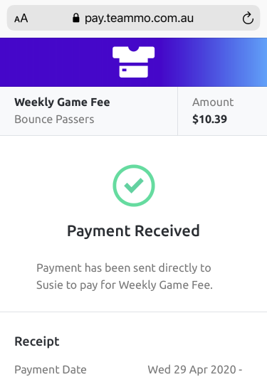 Screenshot of example confirmation screen once a team member has successful made a payment to their team manager