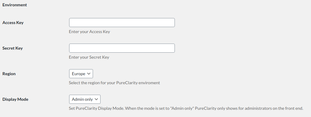 Screenshot of the Environment section of the PureClarity for WooCommerce plugin settings page