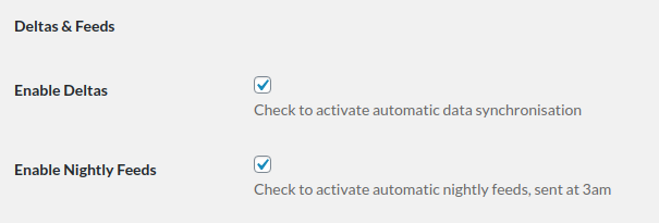 Screenshot of the Deltas and Feeds section of the PureClarity for WooCommerce plugin settings page