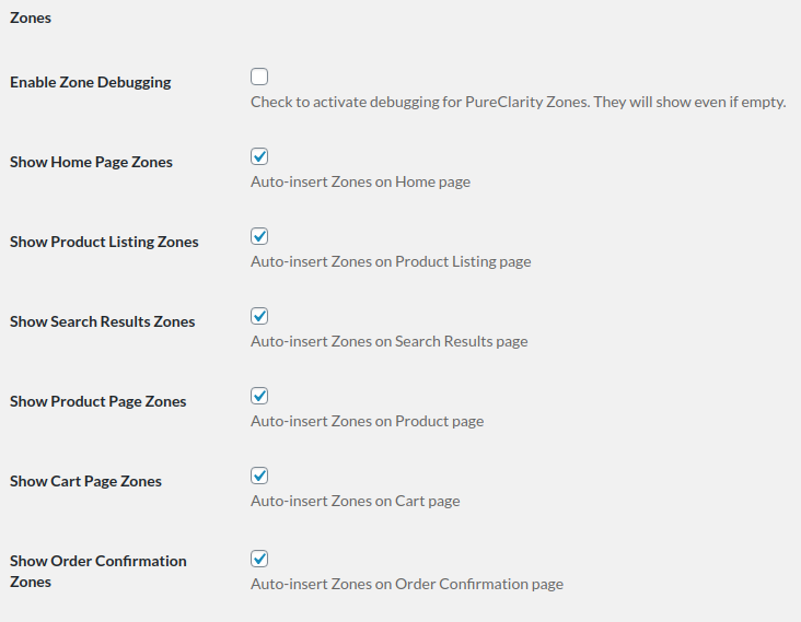 Screenshot of the Zones section of the PureClarity for WooCommerce plugin settings page