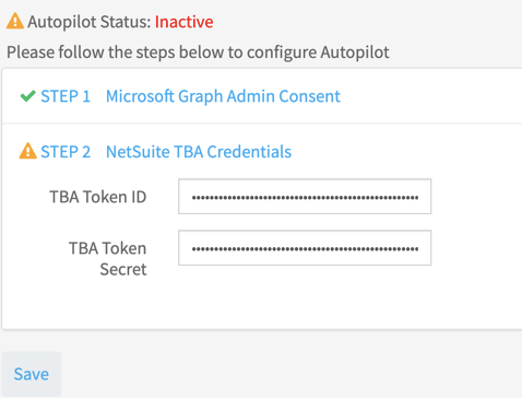 Enterting token and secret for NetSuite in the CloudExtend subscription portal