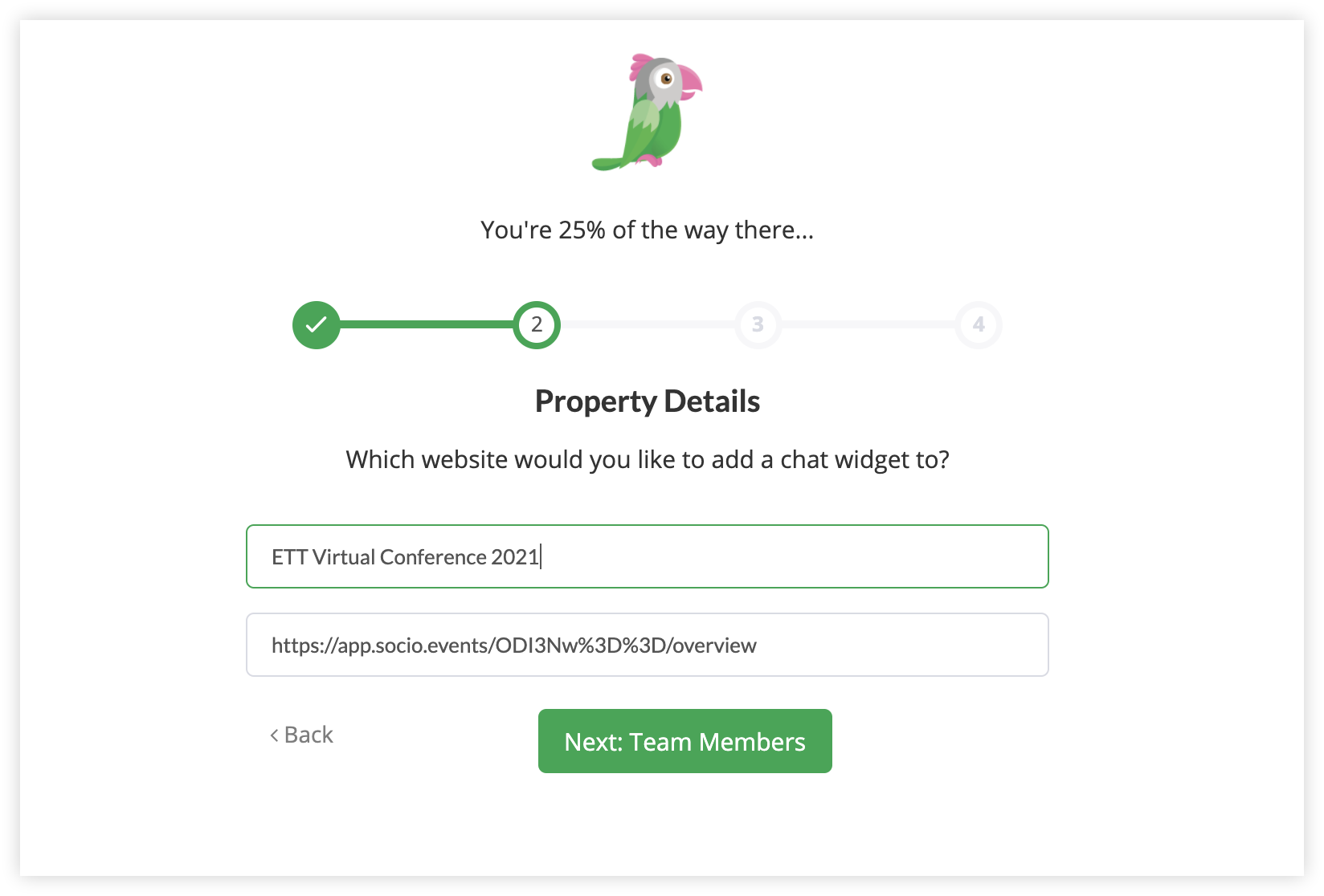 Screenshot of the Property Details step.