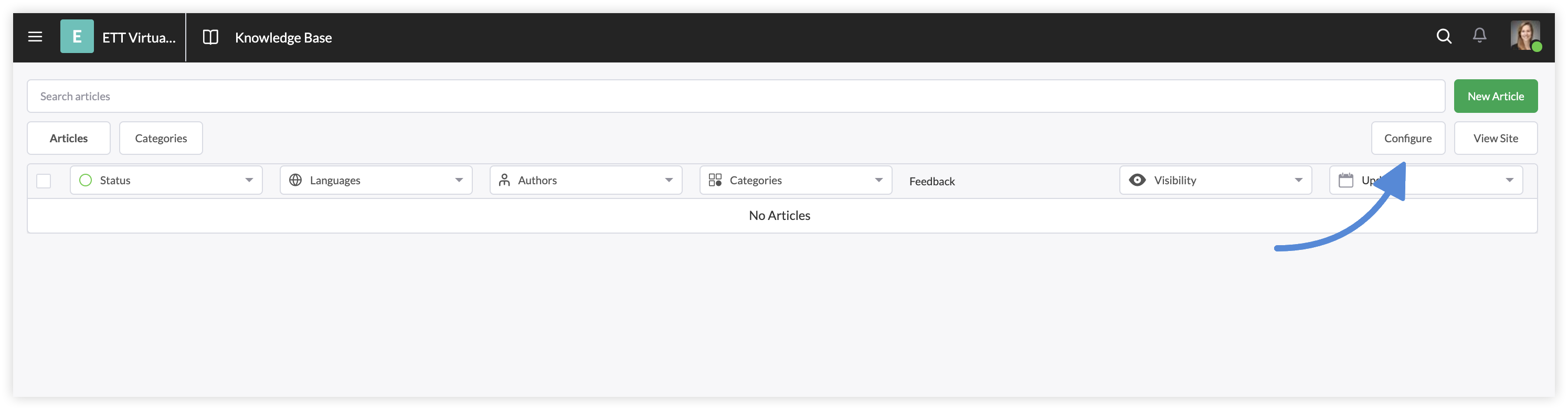 Screenshot of the Configure button on the Tawk.to website