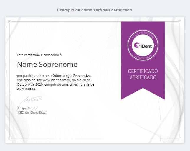 imagem de modelo de certificado dos cursos do iDent