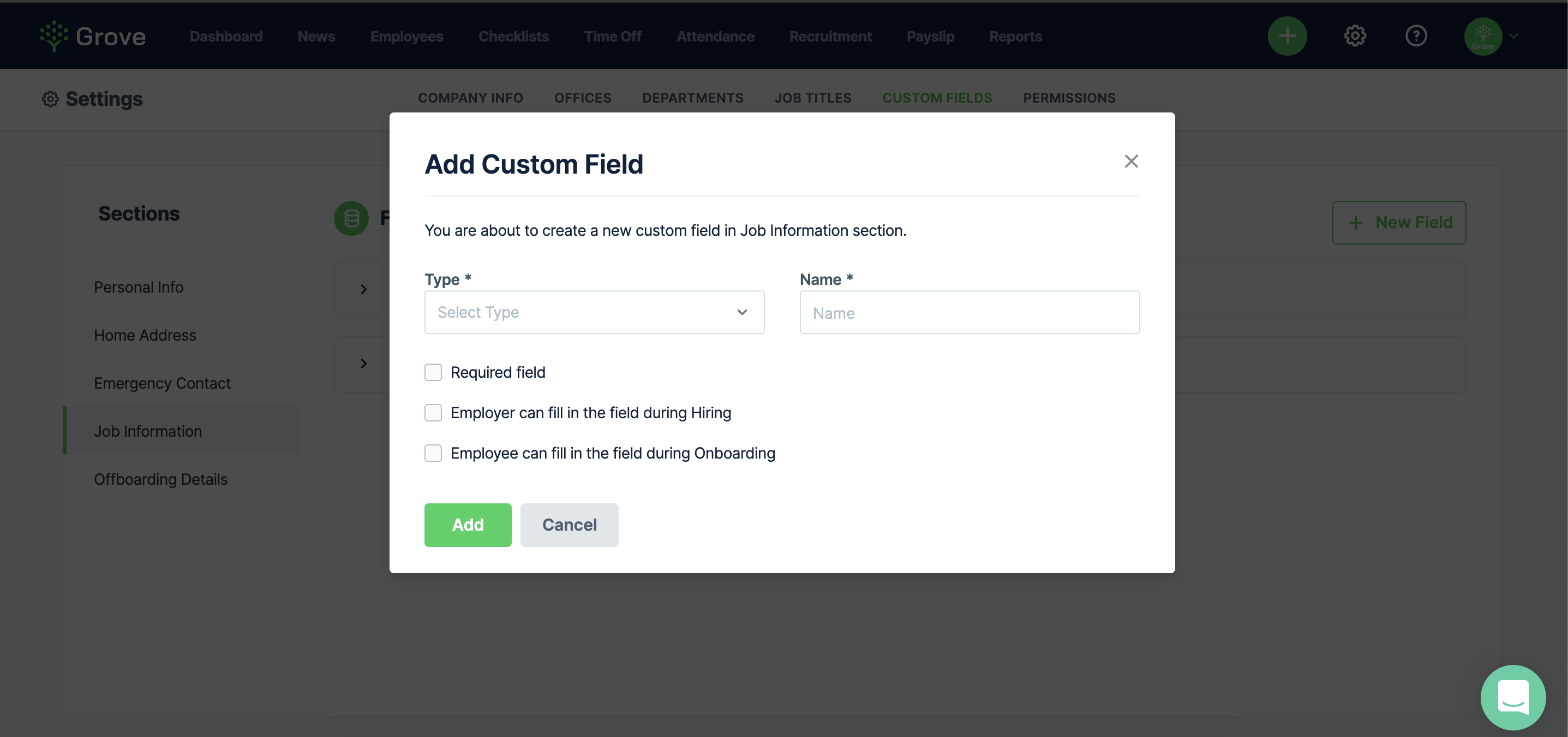 Select data type, enter field name, and options