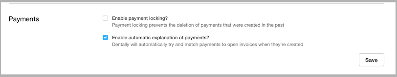 Dentally Practice Settings Payments options