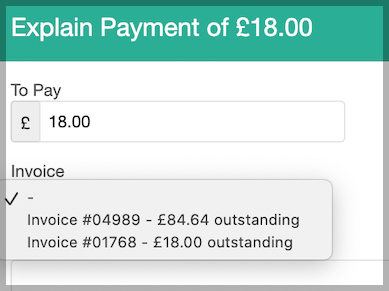 Dentally Explain payment to match payment to invoice