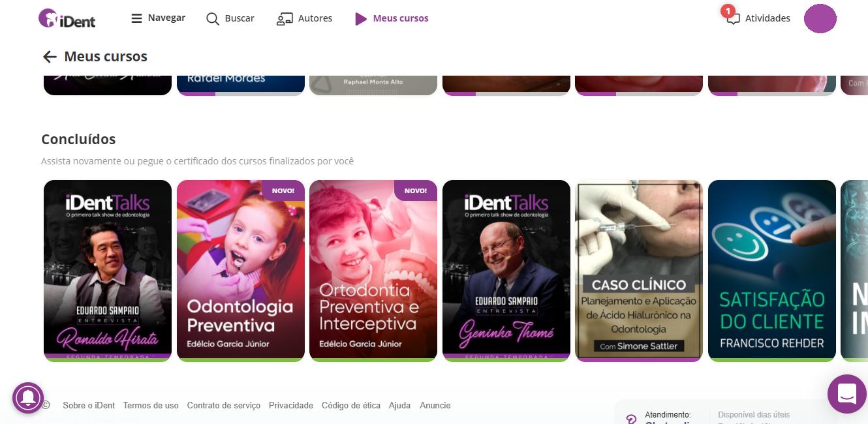 Imagem mostrando a página 'meus cursos' no site do iDent
