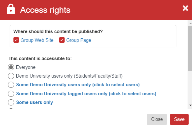 A screenshot highlighting the Access Rights section