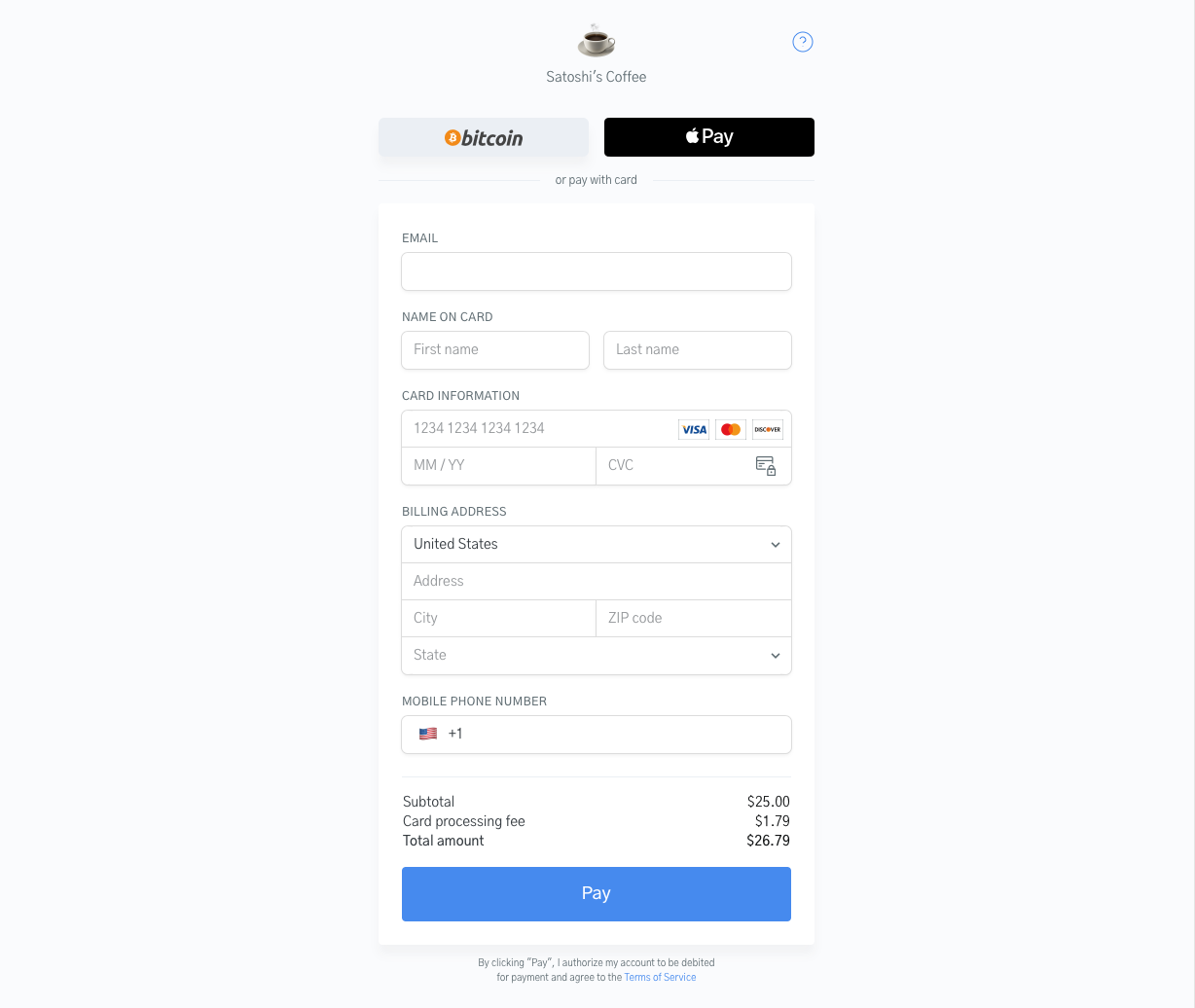 Image of the OpenNode Debit Card and Credit Card checkout