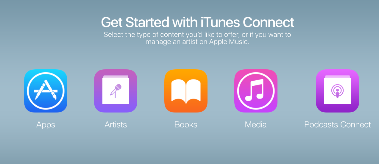 A screenshot of the Apple Podcasts Connect homescreen, with apps, artists, books, media and podcasts connect widgets.
