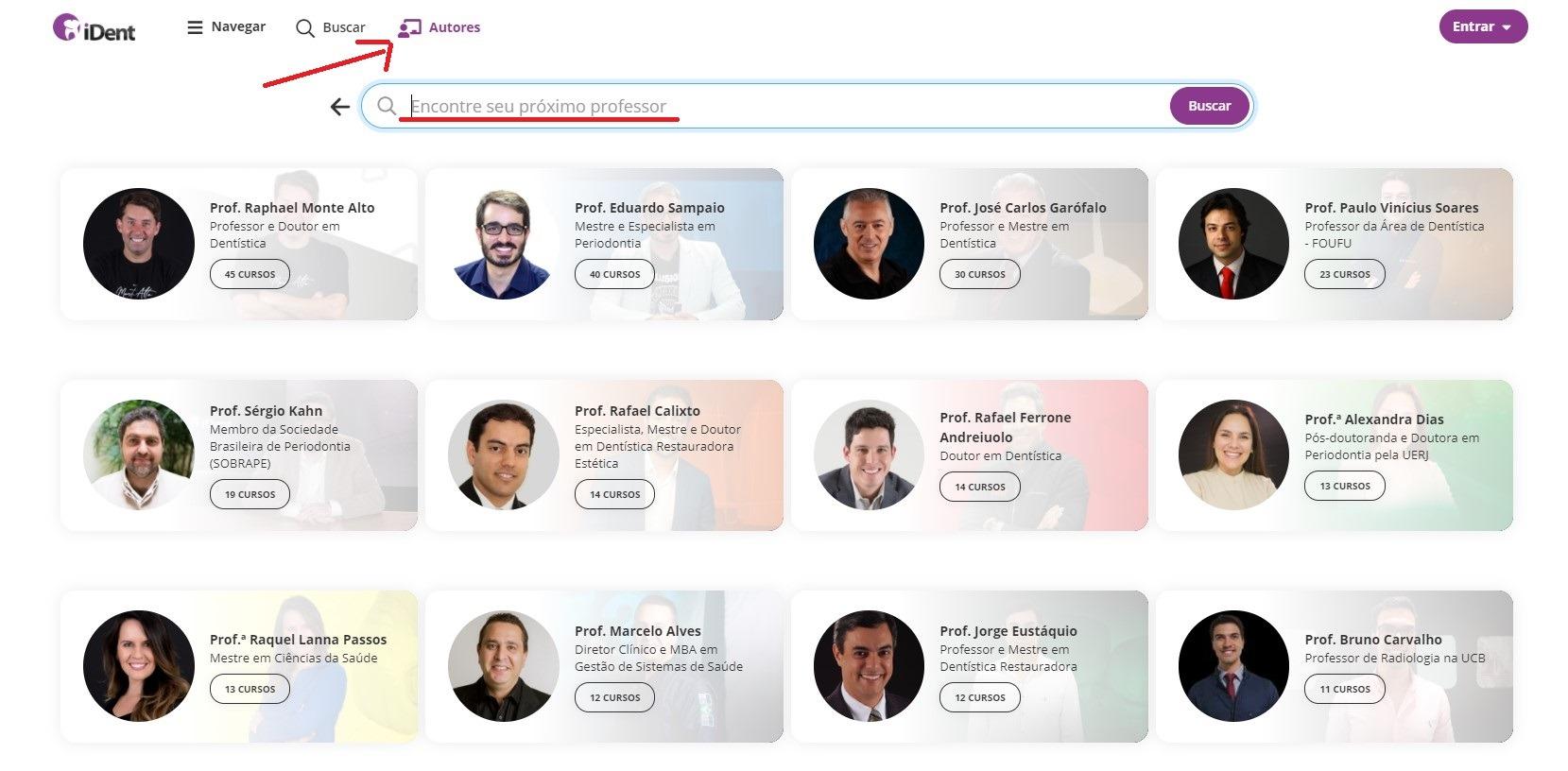 imagem demonstrativa da área autores na plataforma