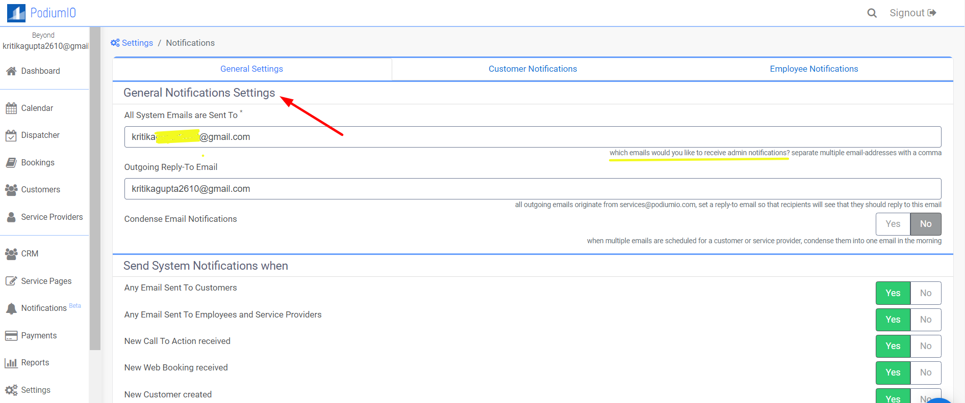 Edit email where you would like to be notified under settings > notifications > general notification