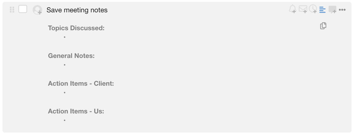 A new quick copy function for task descriptions