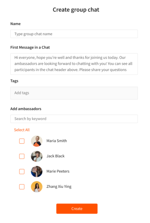An image to show the process of creating a Group Chat from the Admin dashboard