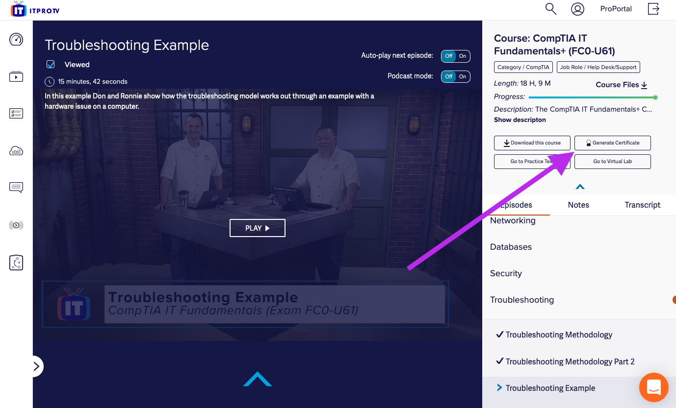 screenshot of an episode page with an arrow pointing to the generate certificate button