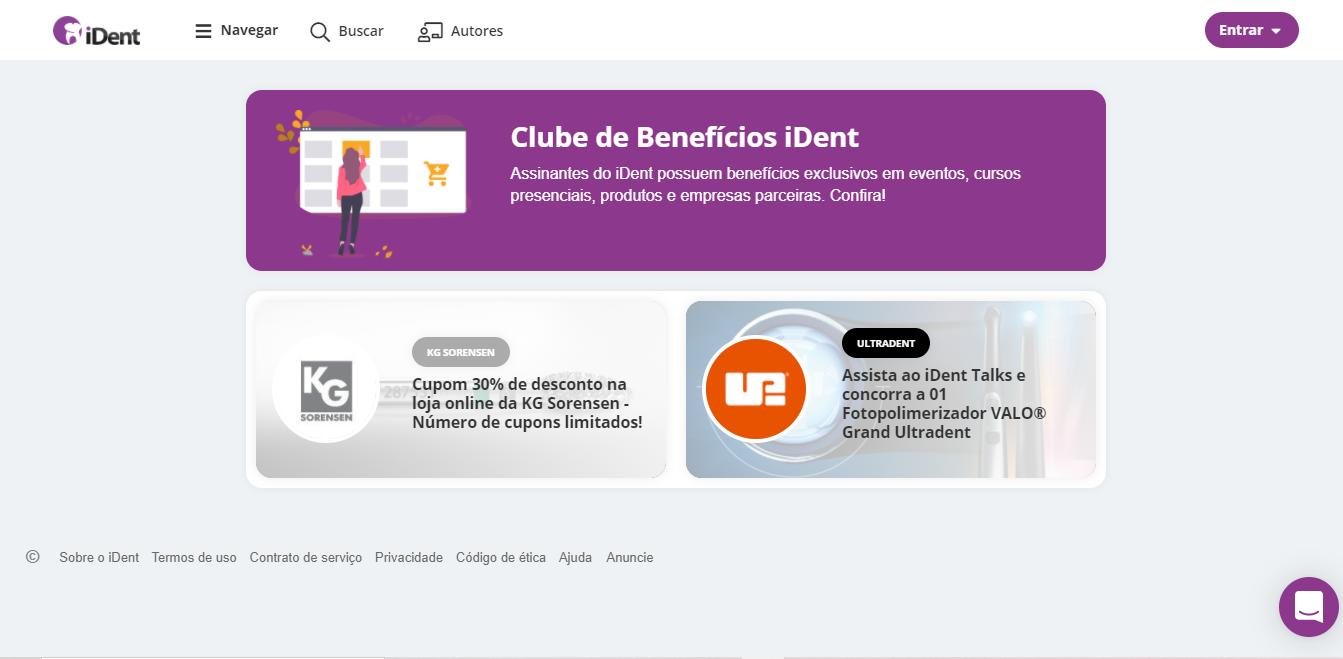 Imagem mostrando página do clube de benefícios do iDent