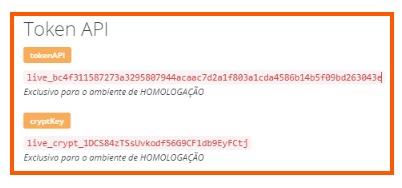 O Token API e CryptKey são utilizados para configurar a integração no Conexa