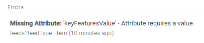 'keyFeaturesValue' - Attribute requires a value.