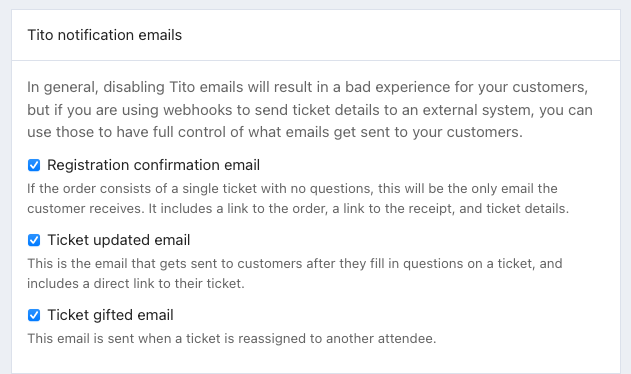 A screenshot showing you how to disable notification emails in settings