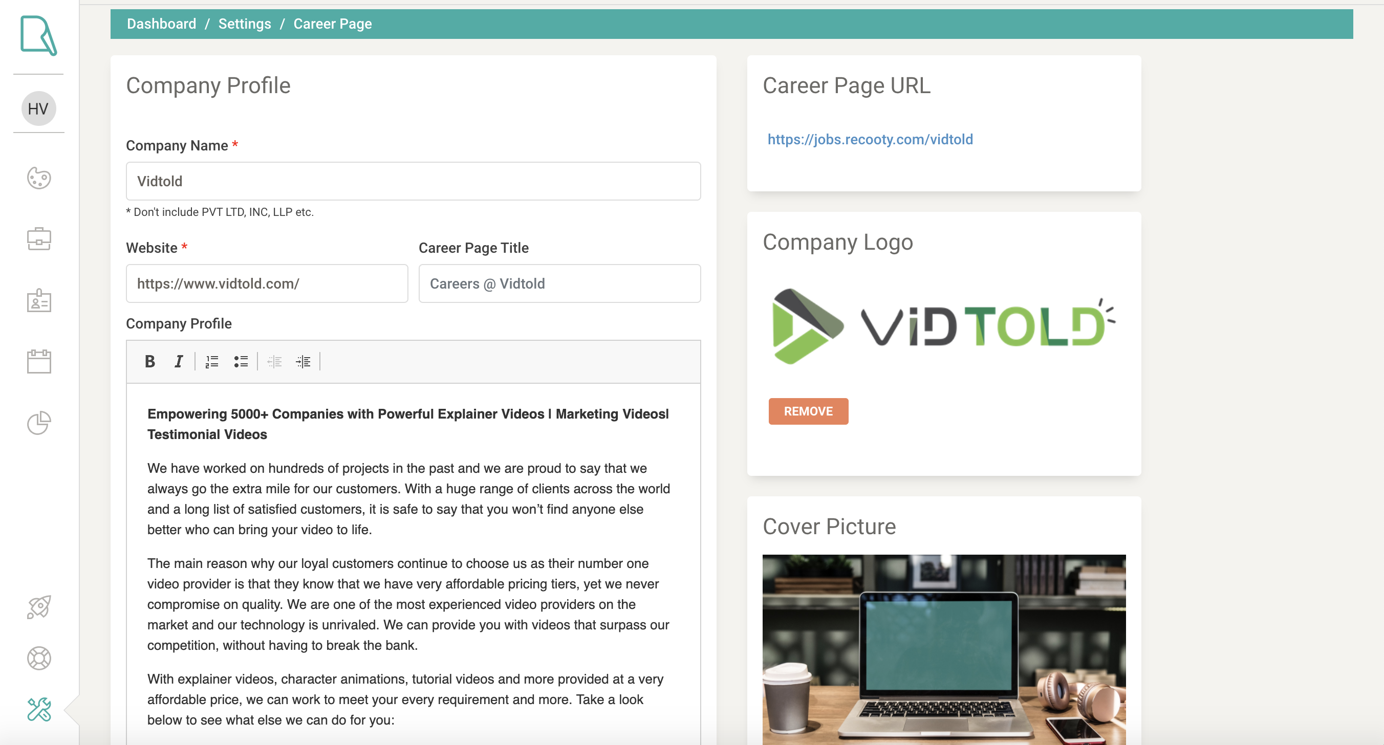 Recooty Career page builder