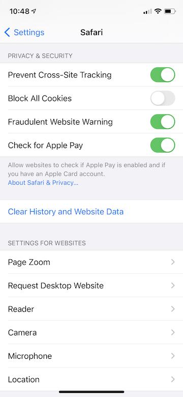 How clear cache iphone ipad settings - step 2