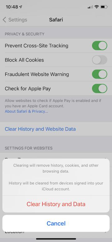 How clear cache iphone ipad settings - step 3