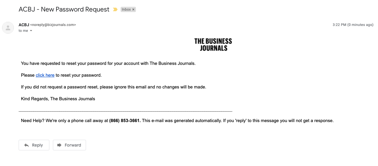 The Business Journals Password Reset Example