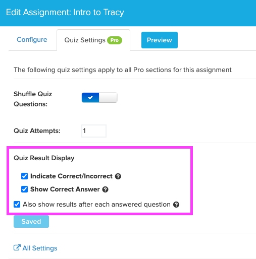 box highlights quiz results display heading in configure menu