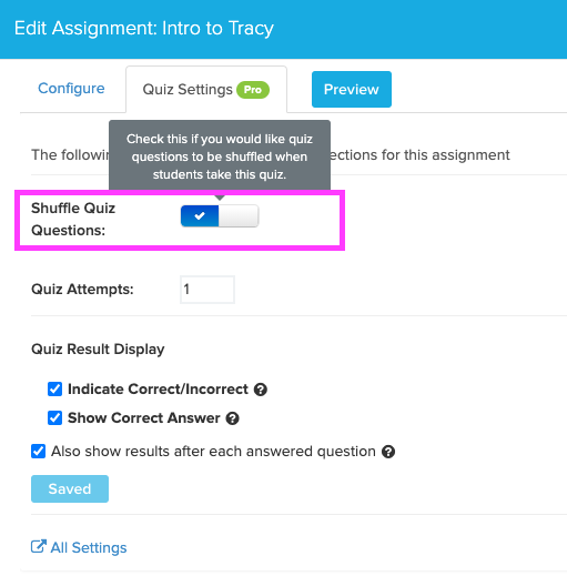box highlights check box for Shuffle Quiz Questions setting