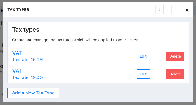 Screenshot showing two tax rates