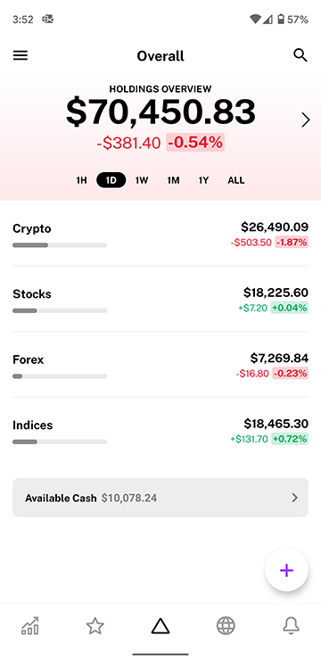 Available cash system in Delta Investment Tracker