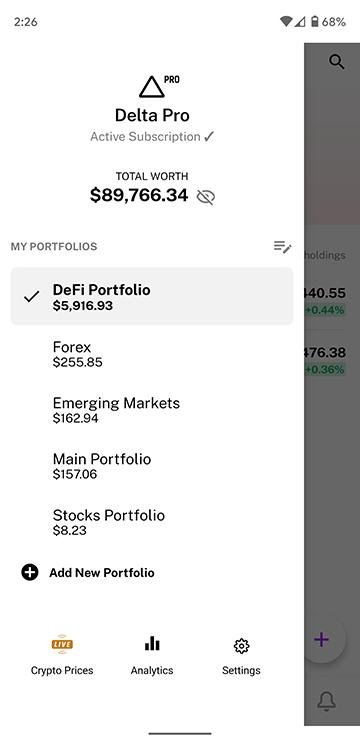 Delta Investment Tracker navigation