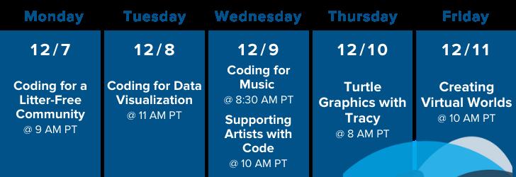 Mon-Fri weekly schedule for december 2020 of workshops