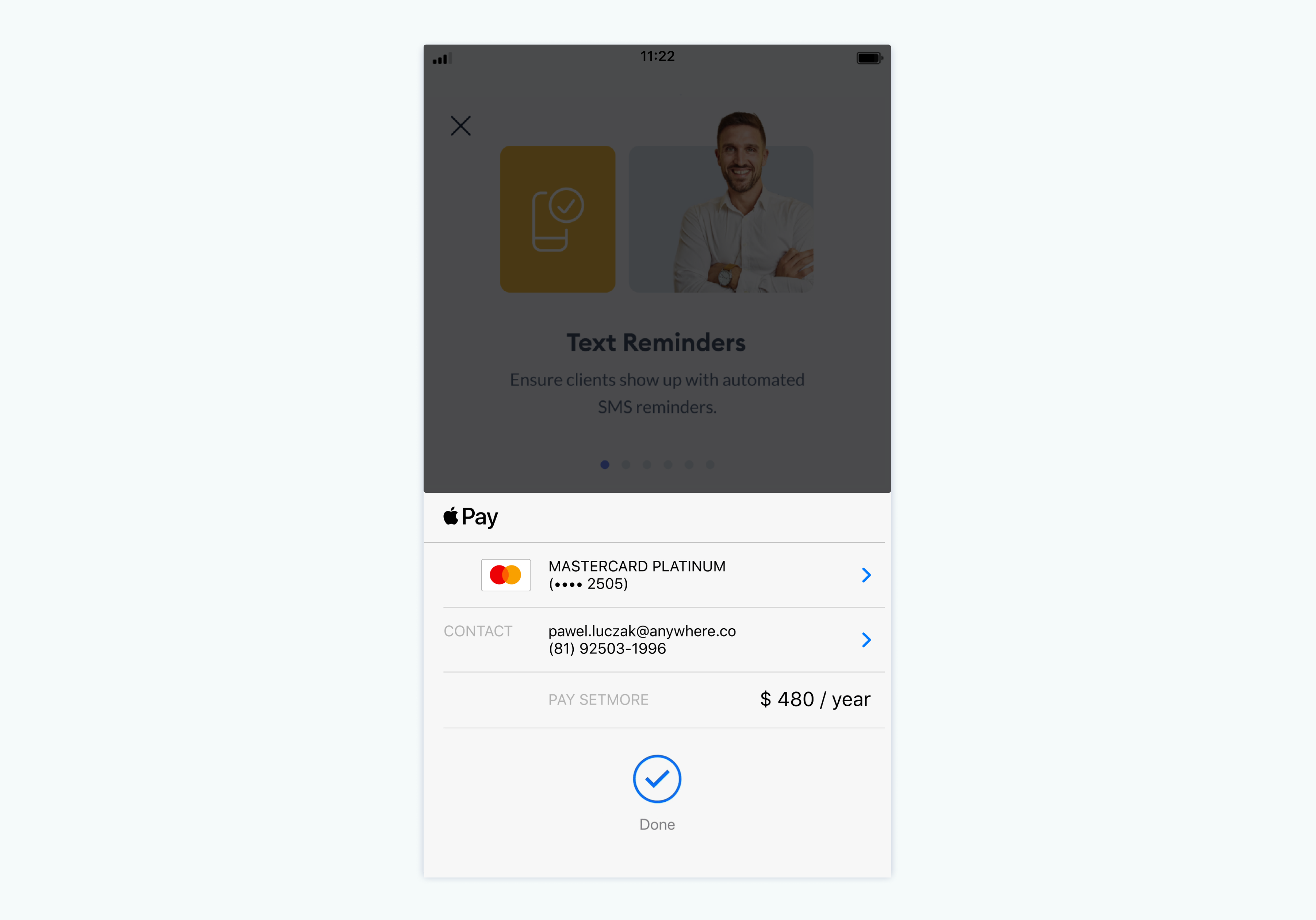 Payment screen on the Setmore mobile app