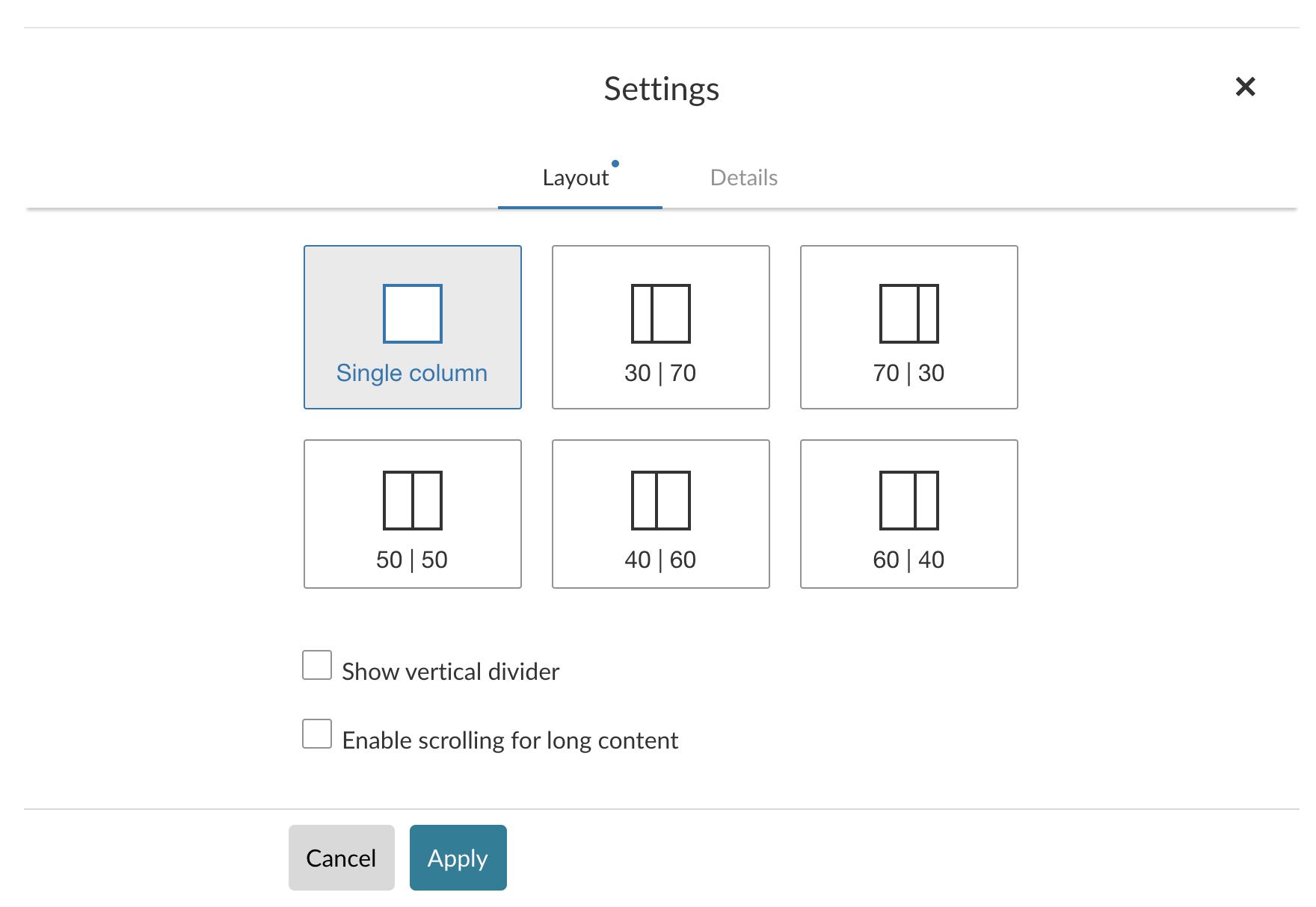 The layout settings modal screen